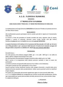 Domenica 29 maggio il 5° Trofeo Città di Floridia
