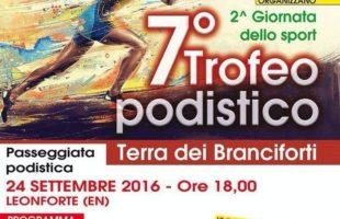 Sabato 24 settembre il 7° Trofeo podistico Terra dei Branciforti