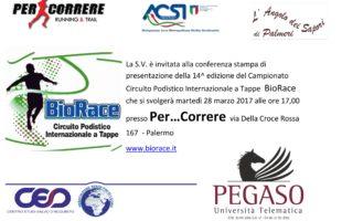 Martedì 28 marzo si presenta il Campionato  BioRace 2017 Trofeo Pegaso/PerCorrere