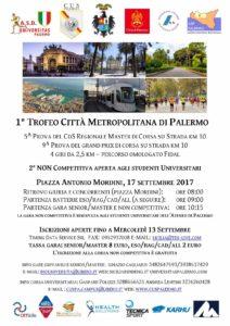 Il 17 settembre si corre il 1° Trofeo Città Metropolitana di Palermo